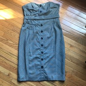 NWT Anthropologie Plaid Strapless Dress